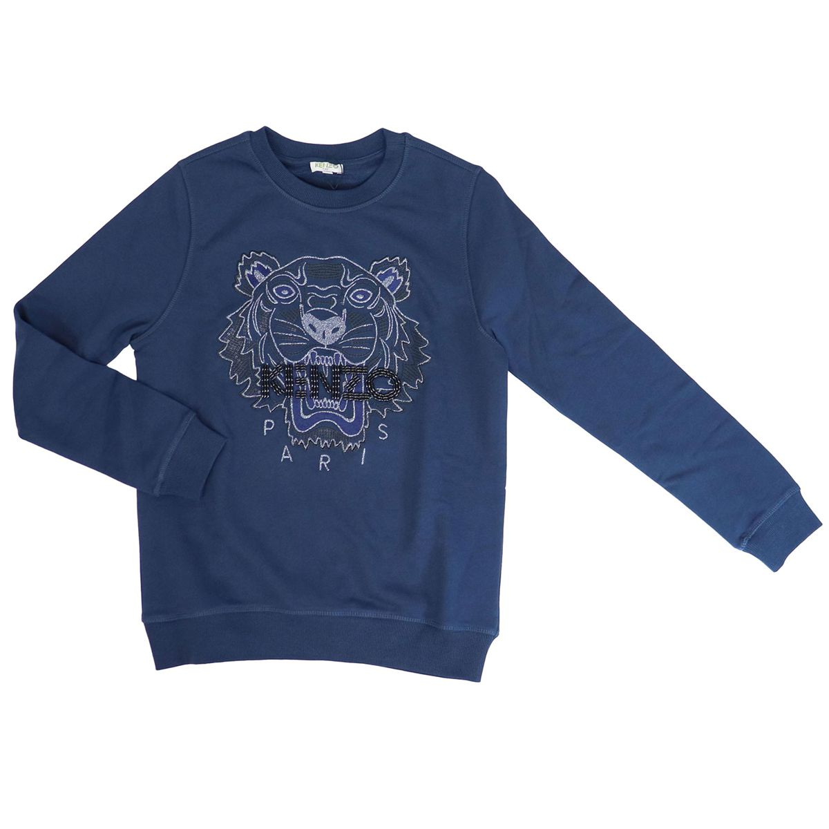 Crewneck sweatshirt with large embroidered logo with sequins Blue Kenzo