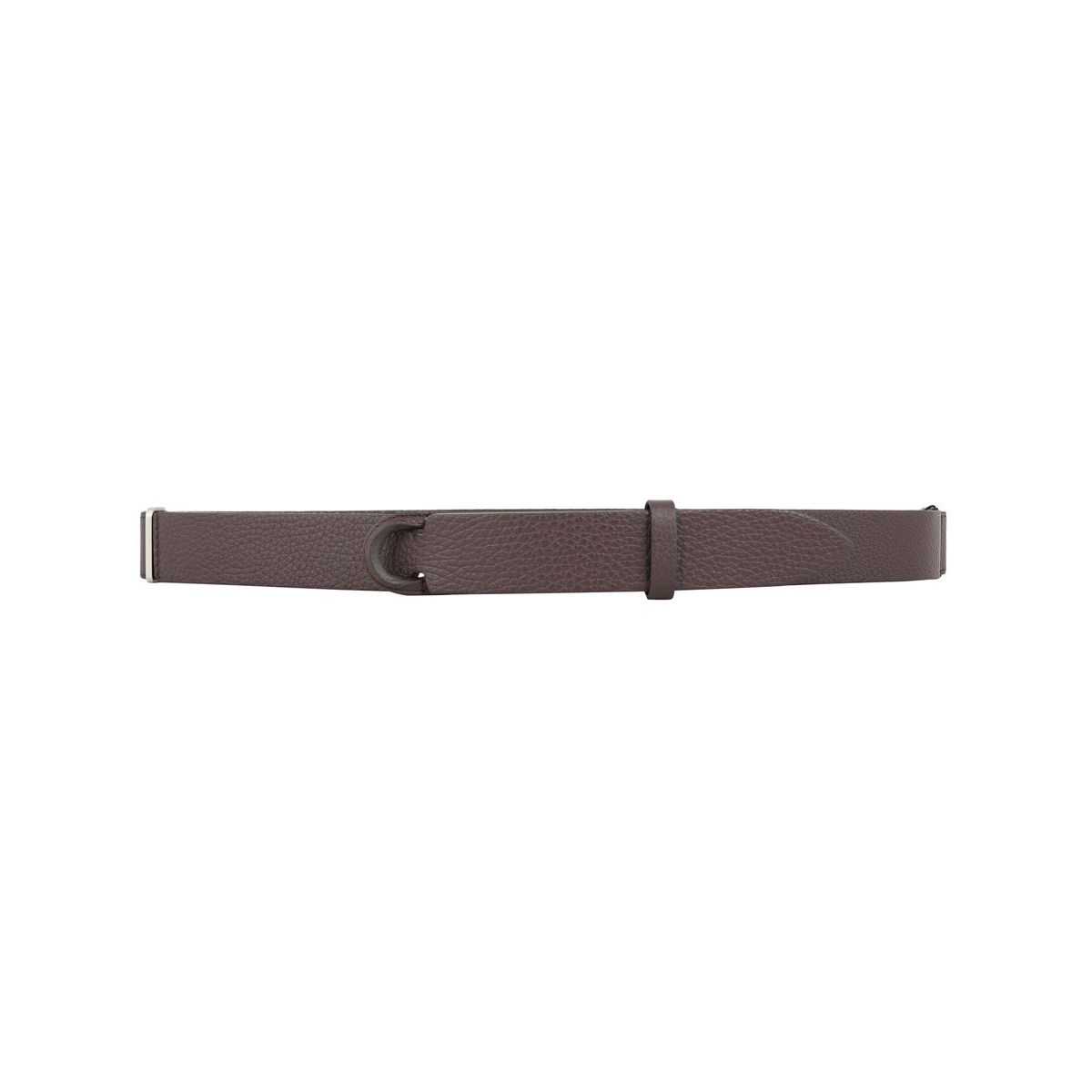 NO BUCKLE belt in hammered leather Ebony Orciani