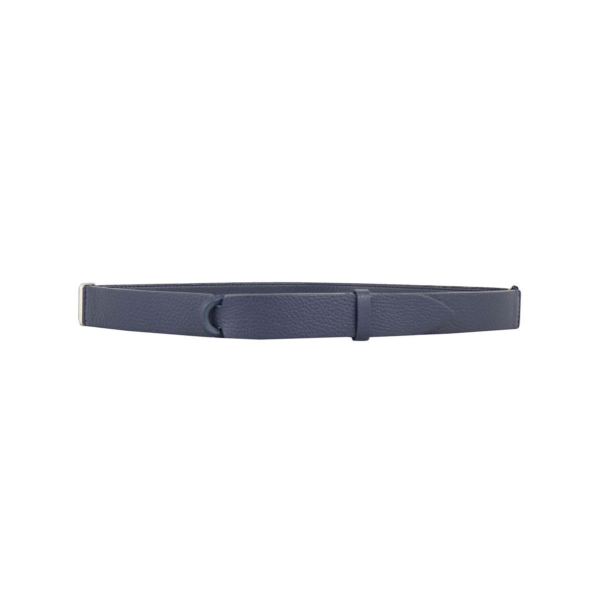 NO BUCKLE belt in hammered leather Navy Orciani