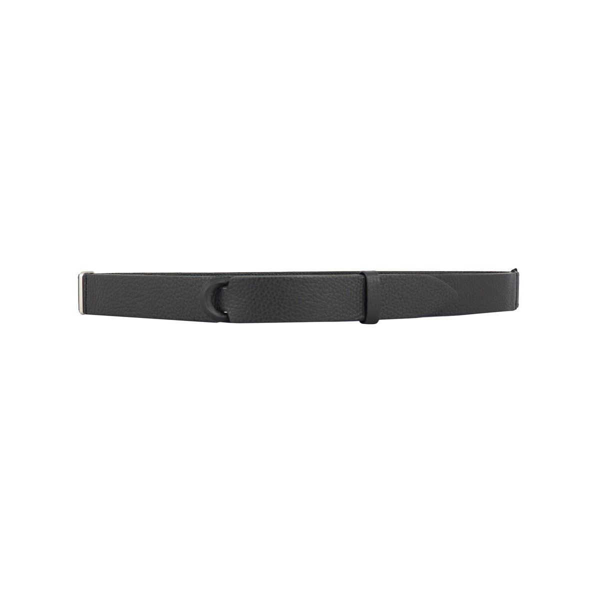 NO BUCKLE belt in hammered leather Black Orciani