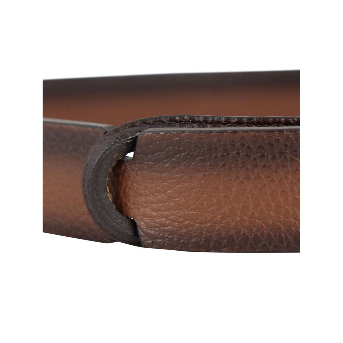 NO BUCKLE belt in shaded textured leather Cigar Orciani