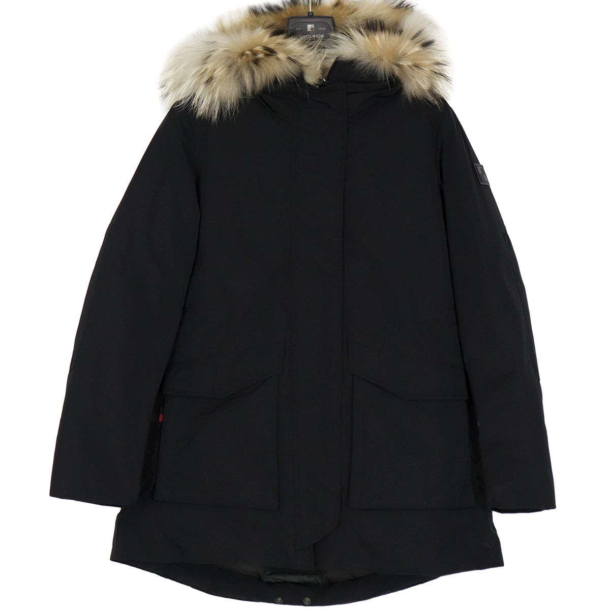 Military parka with fur-trimmed hood Black Woolrich