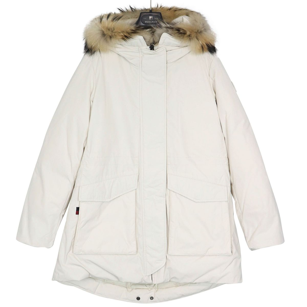 Military parka with fur-trimmed hood Cream Woolrich