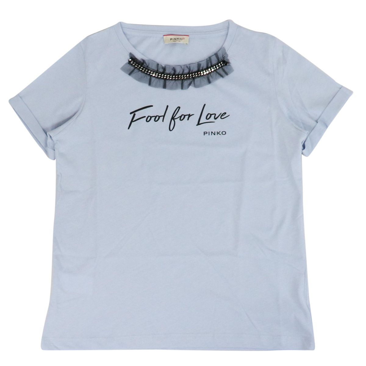 Short sleeve t-shirt with ruffles on the neck FERROVIERE Light blue Pinko