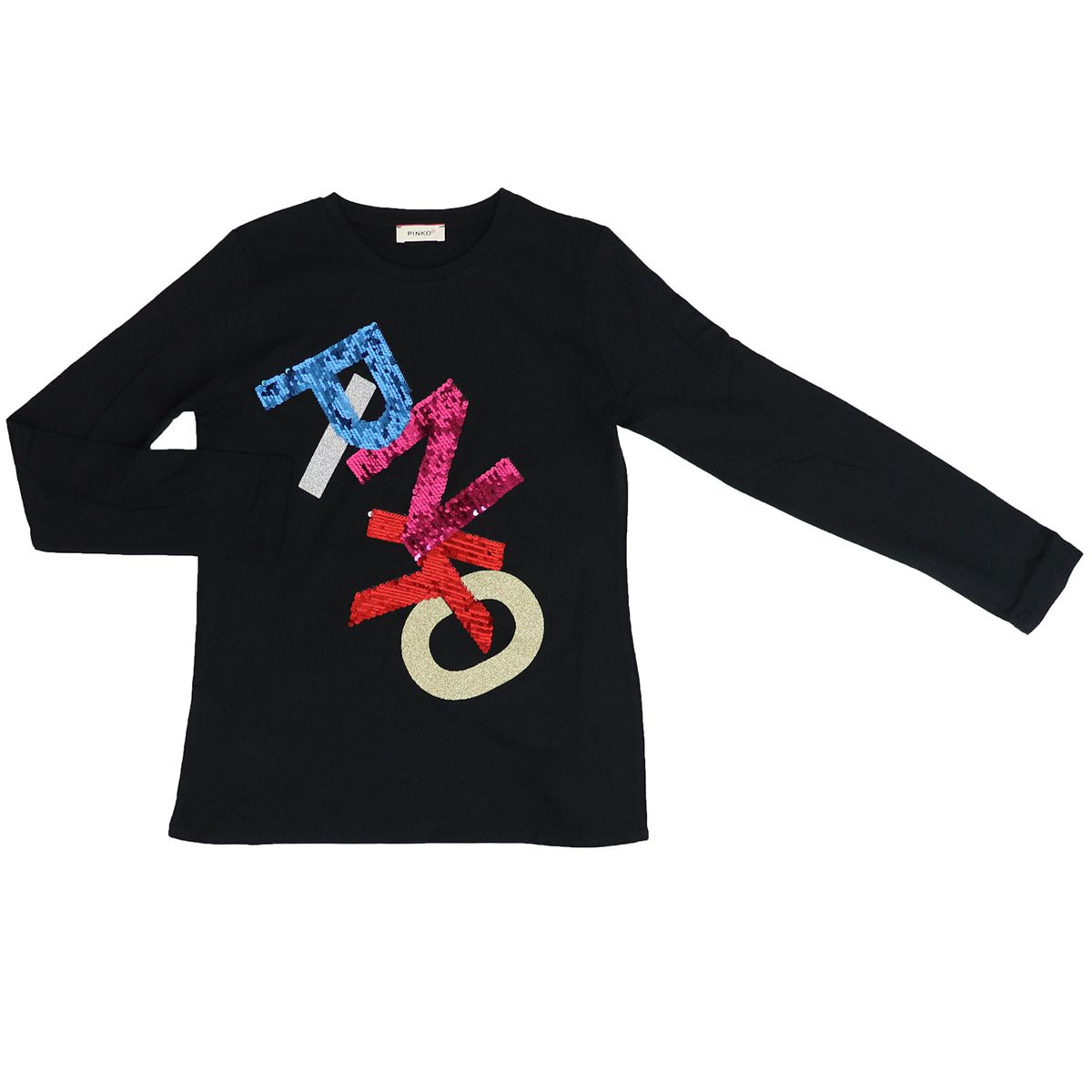 T-shirt with sequin logo OTTICO Black Pinko