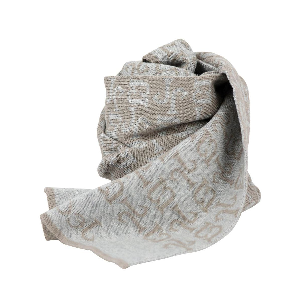 Mixed wool scarf with logos Beige Jeckerson