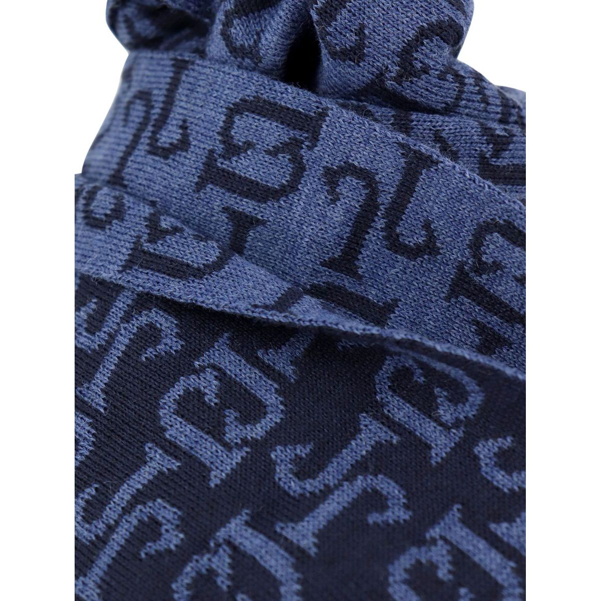 Mixed wool scarf with logos Blue Jeckerson