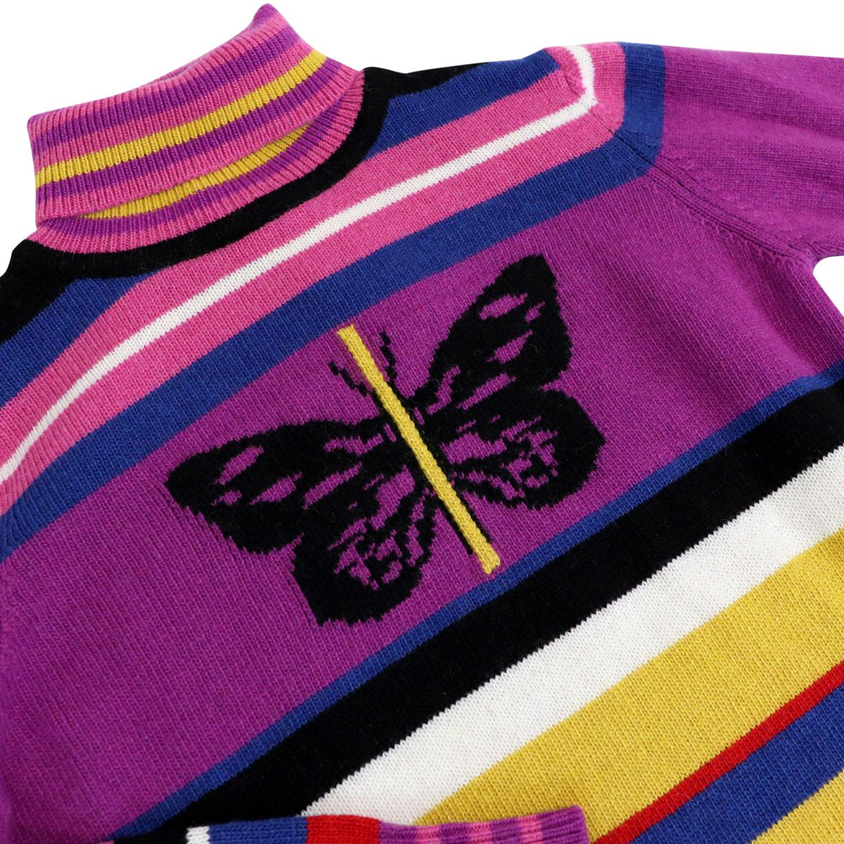 Multicolor striped turtleneck with butterfly SAXOPHONE Multicolor Pinko