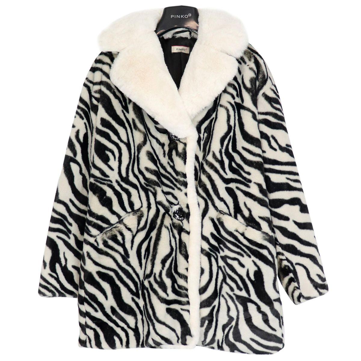 Eco-fur notary coat Zebra print Pinko