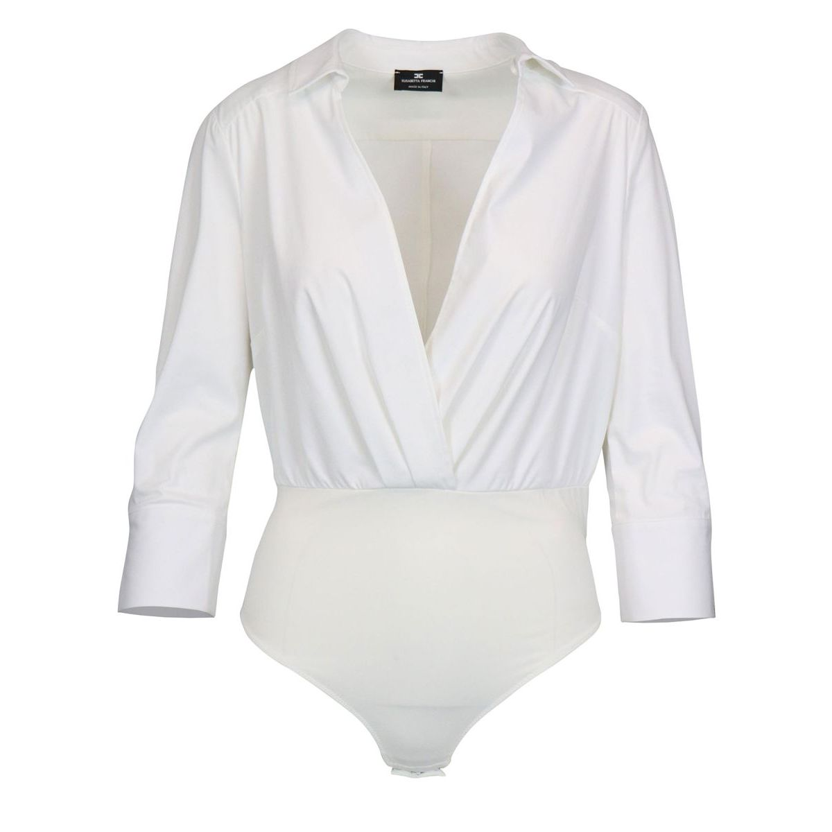 V-neck body shirt and three-quarter sleeve Optical white Elisabetta Franchi