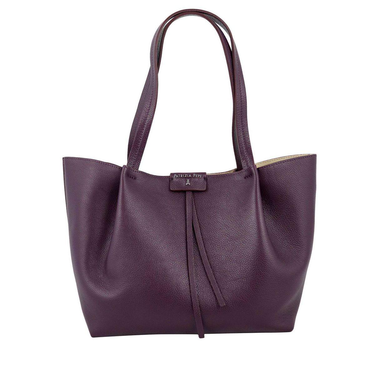 Shopper bag in cowhide leather Bordeaux Patrizia Pepe