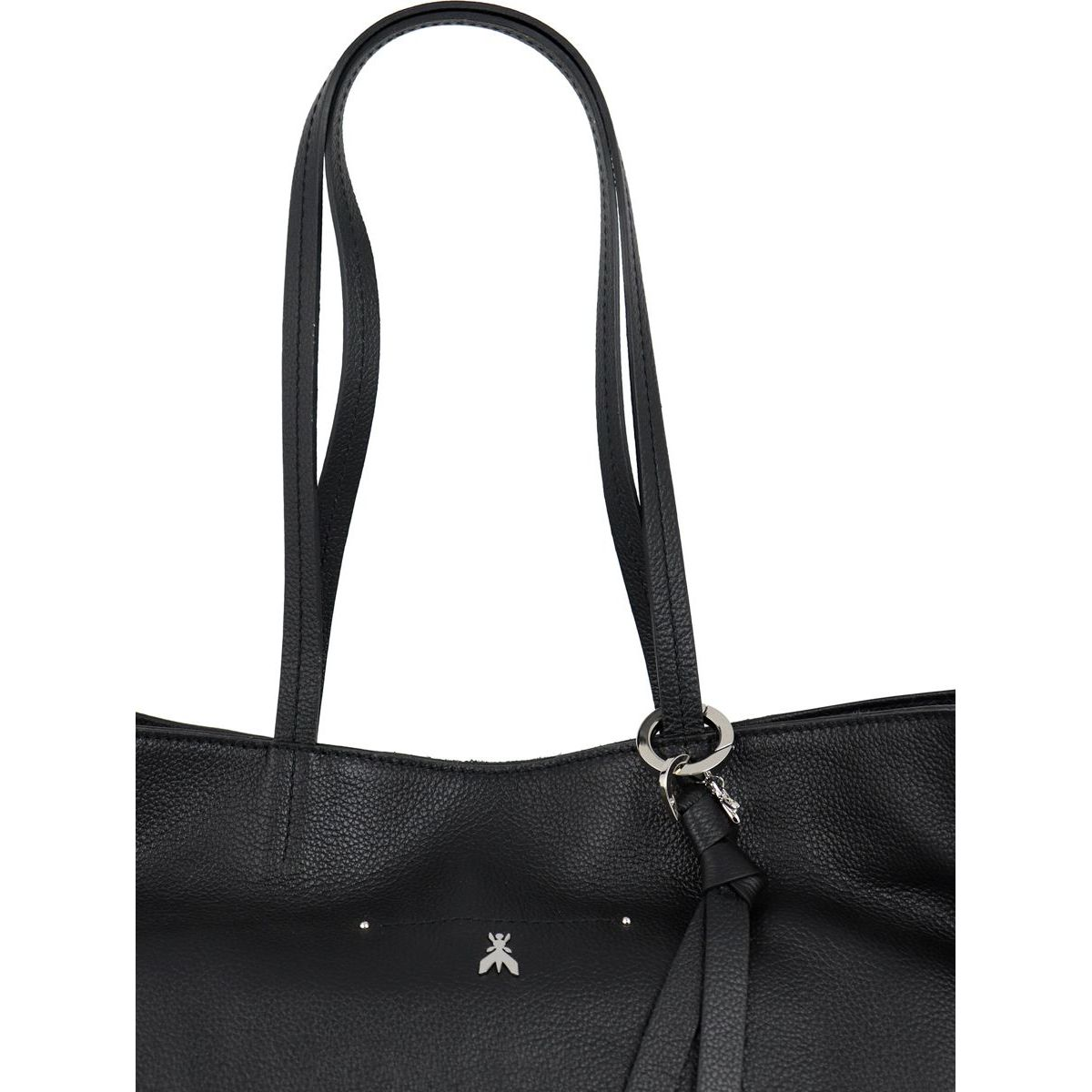 Large leather shopper bag with zip closure Black Patrizia Pepe