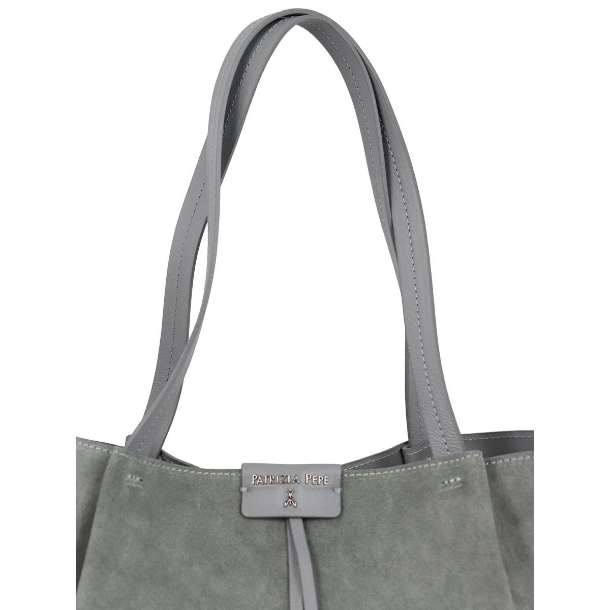 Shopper bag in suede leather Grey Patrizia Pepe