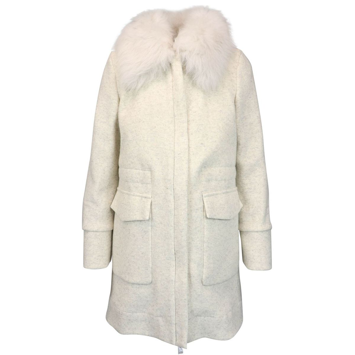 WOOL COTTON COAT Cream Woolrich