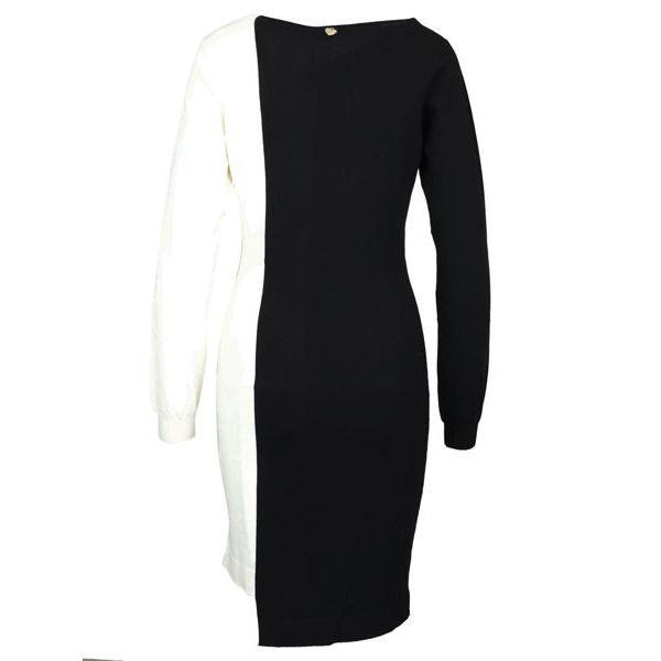 Two-tone dress with ruffles Black white Twin-Set