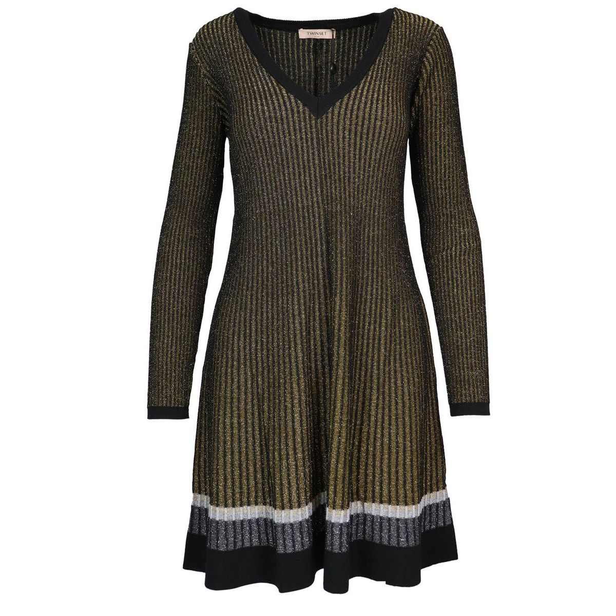 Wide neck laminated wool blend dress Black laminate Twin-Set