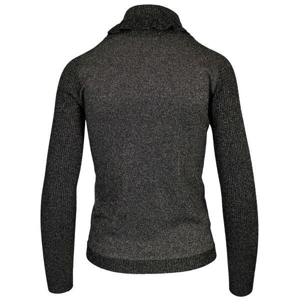 High neck viscose blend sweater with ruffles Black laminate Twin-Set