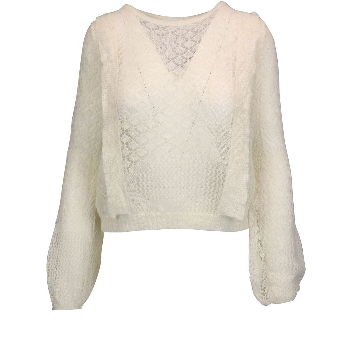 Perforated sweater in wool blend with ruffles White Patrizia Pepe