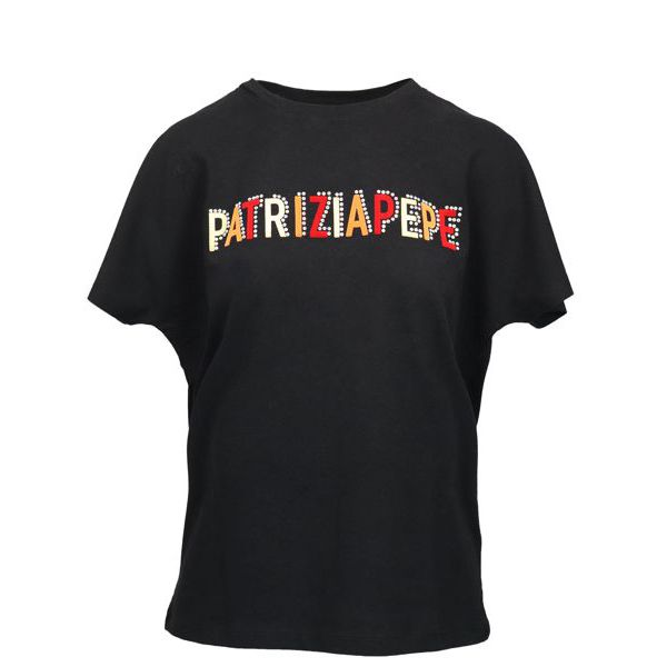 Cotton T-shirt with multicolor logo lettering Black Patrizia Pepe