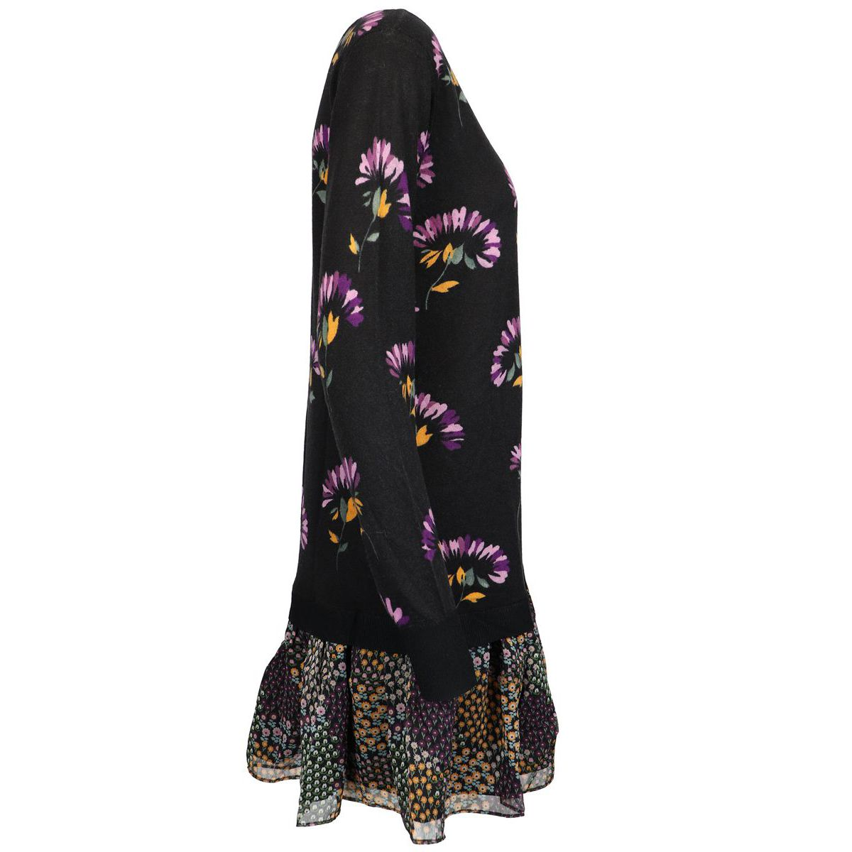 Printed wool dress with flounce on the bottom Black / fantasy Twin-Set