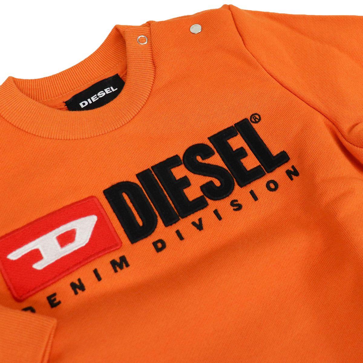 Crewneck baby sweatshirt with applied logo Orange Diesel