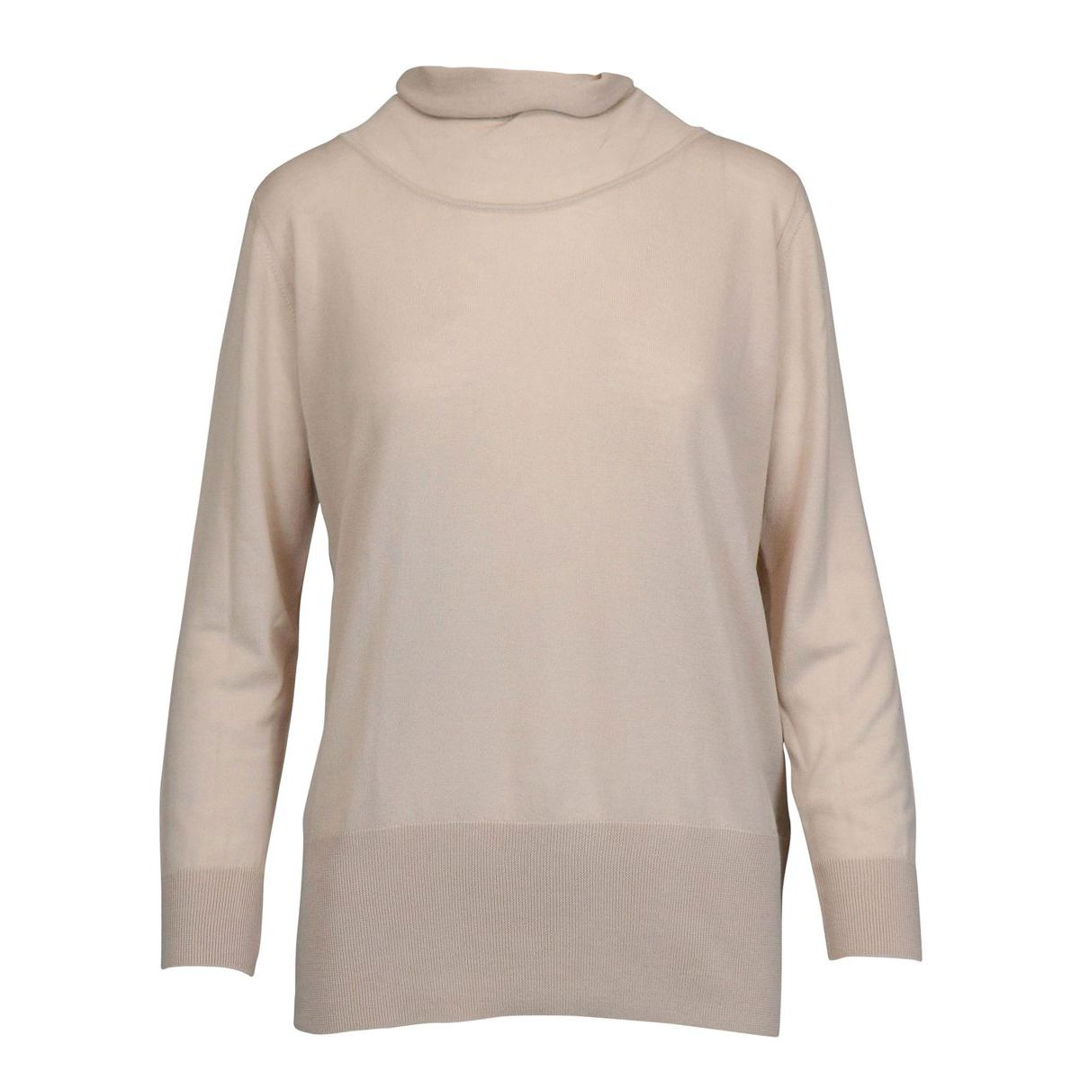 High neck sweater in wool with ribbed profiles Beige Alpha Studio