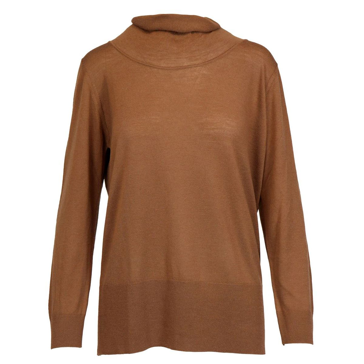 High neck sweater in wool with ribbed profiles Brown Alpha Studio