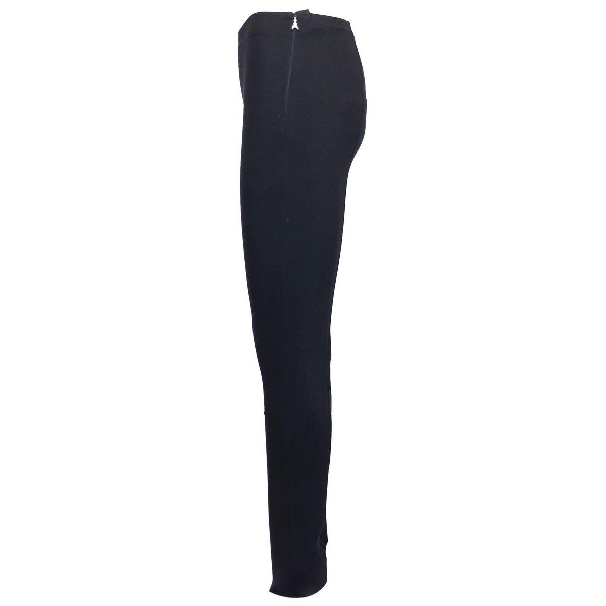 Pantalon skinny en viscose mélangée taille haute avec fentes sur le bas Noir Patrizia Pepe