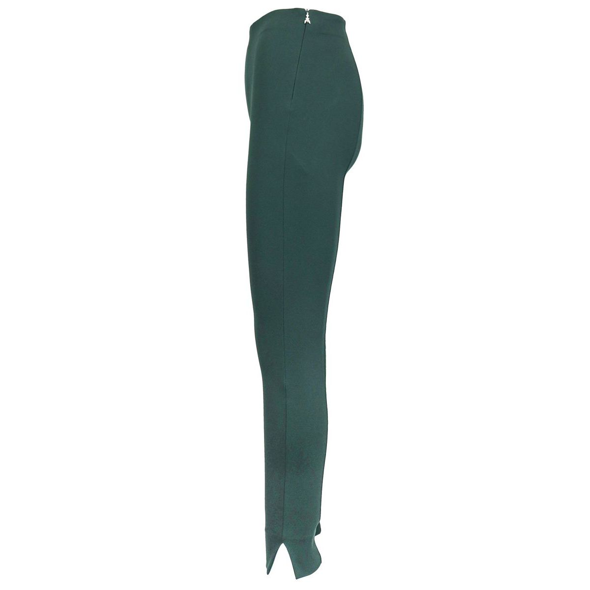 High-waisted viscose blend skinny trousers with slits on the bottom Green bottle Patrizia Pepe