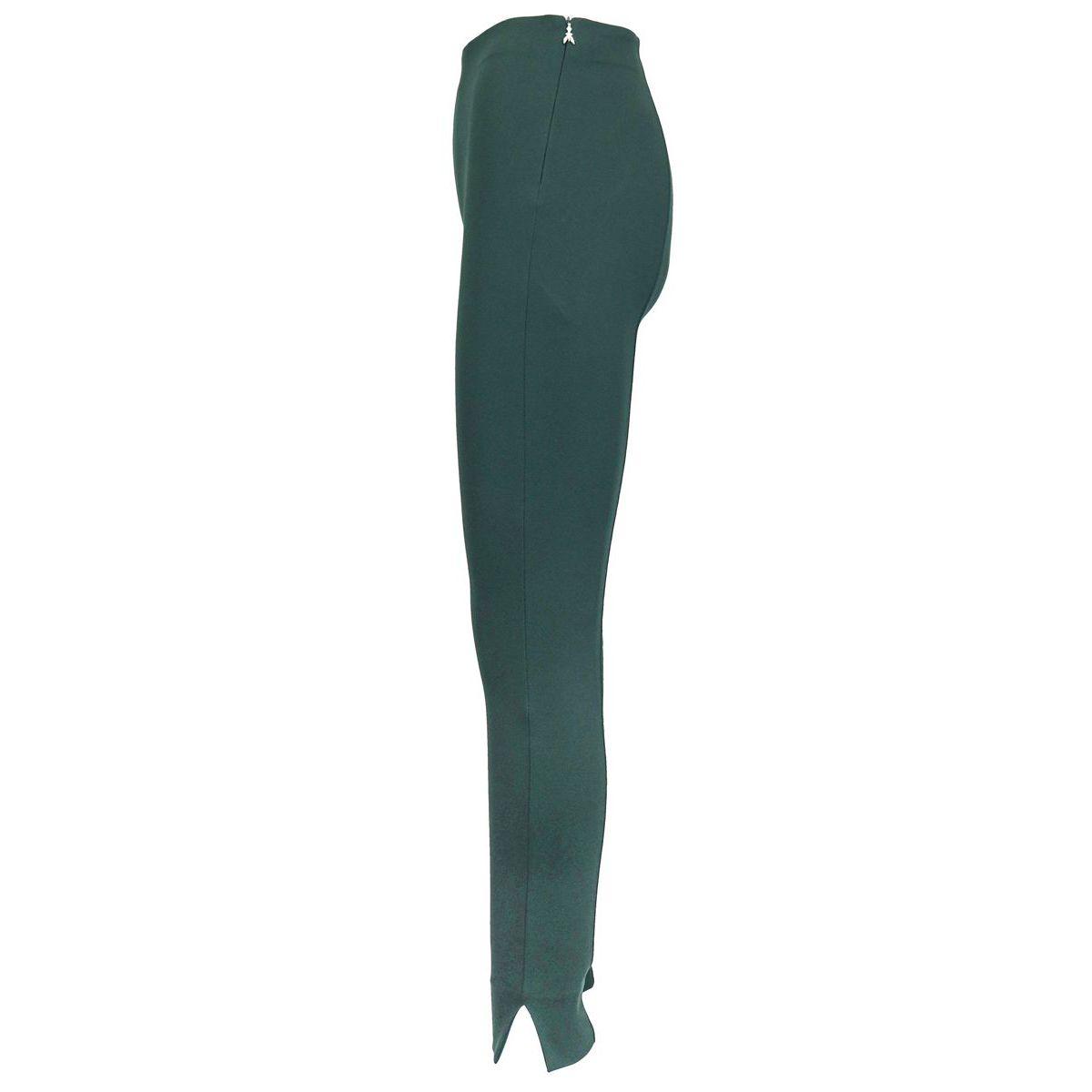 Pantalon skinny en viscose mélangée taille haute avec fentes sur le bas Bouteille verte Patrizia Pepe