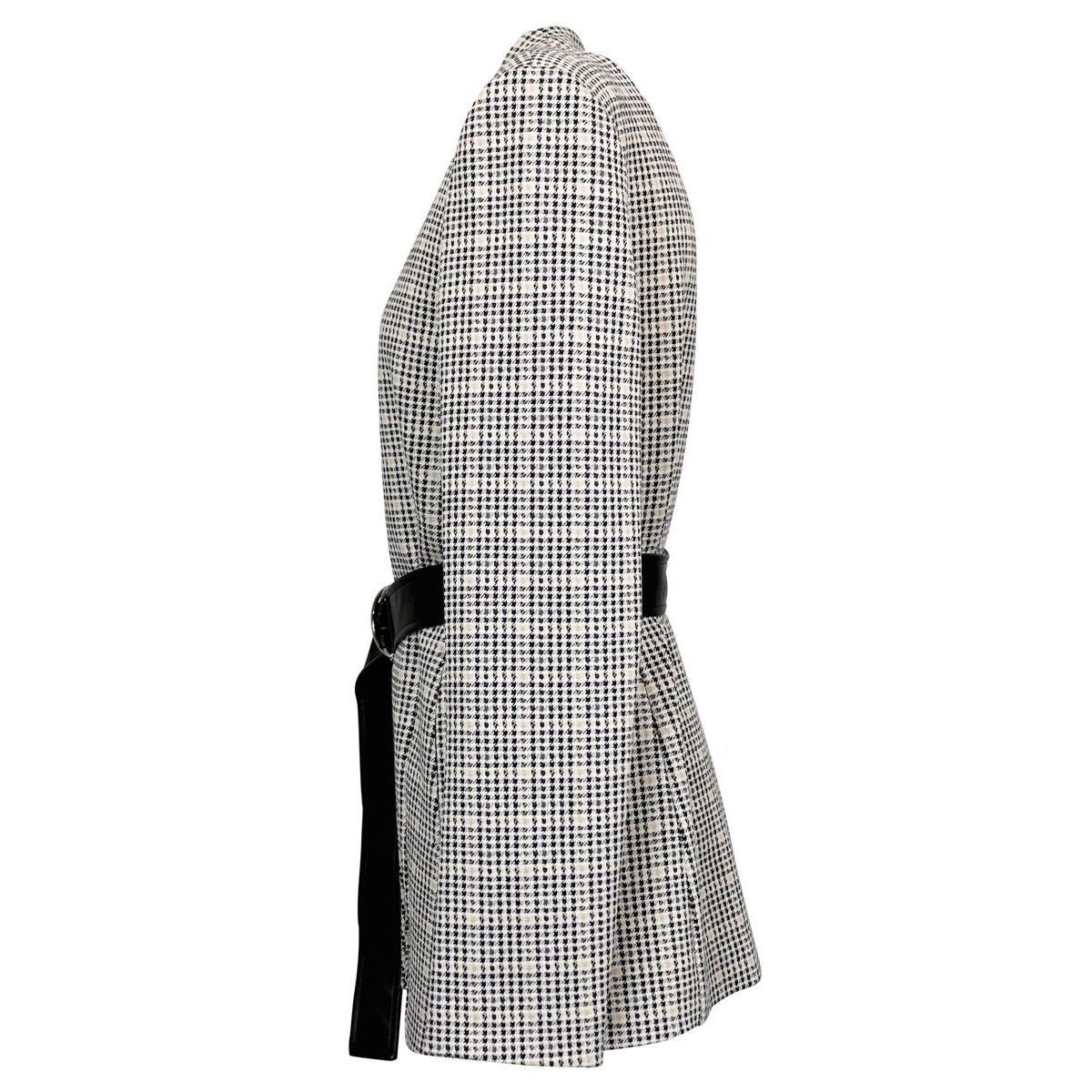 Pointed houndstooth fabric jacket with belt Black / beige Patrizia Pepe