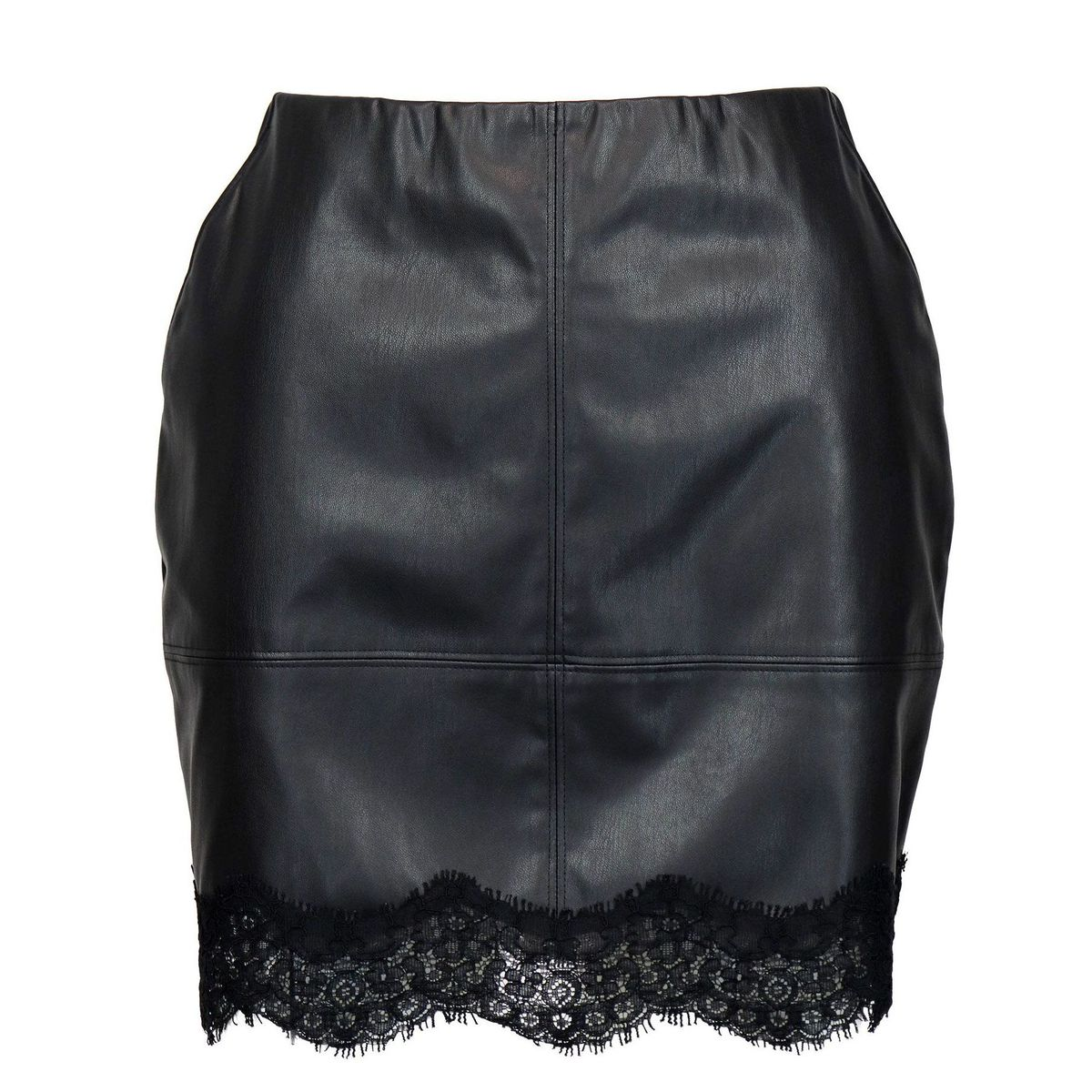 Leatherette skirt with lace bottom Black Patrizia Pepe