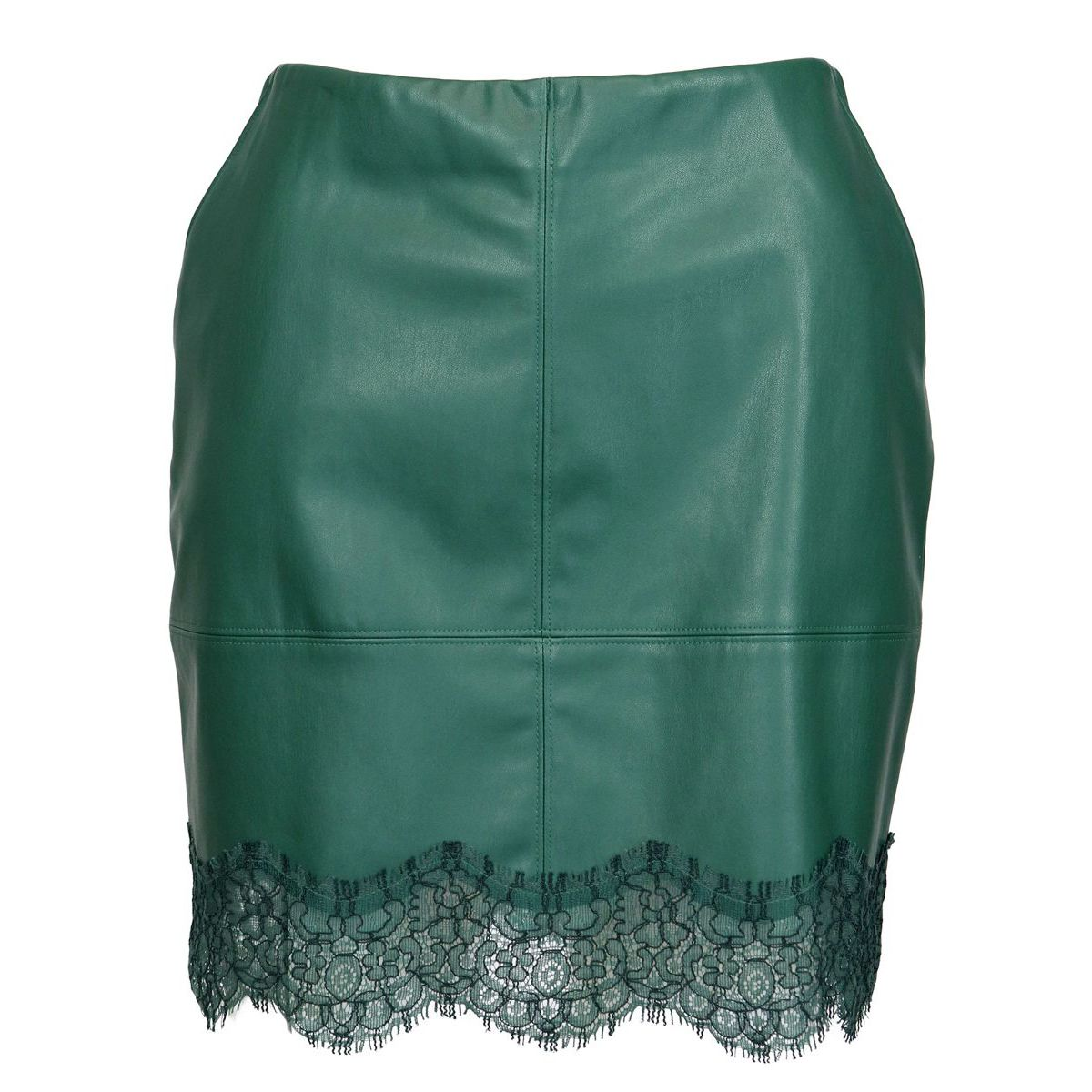Leatherette skirt with lace bottom Green Patrizia Pepe