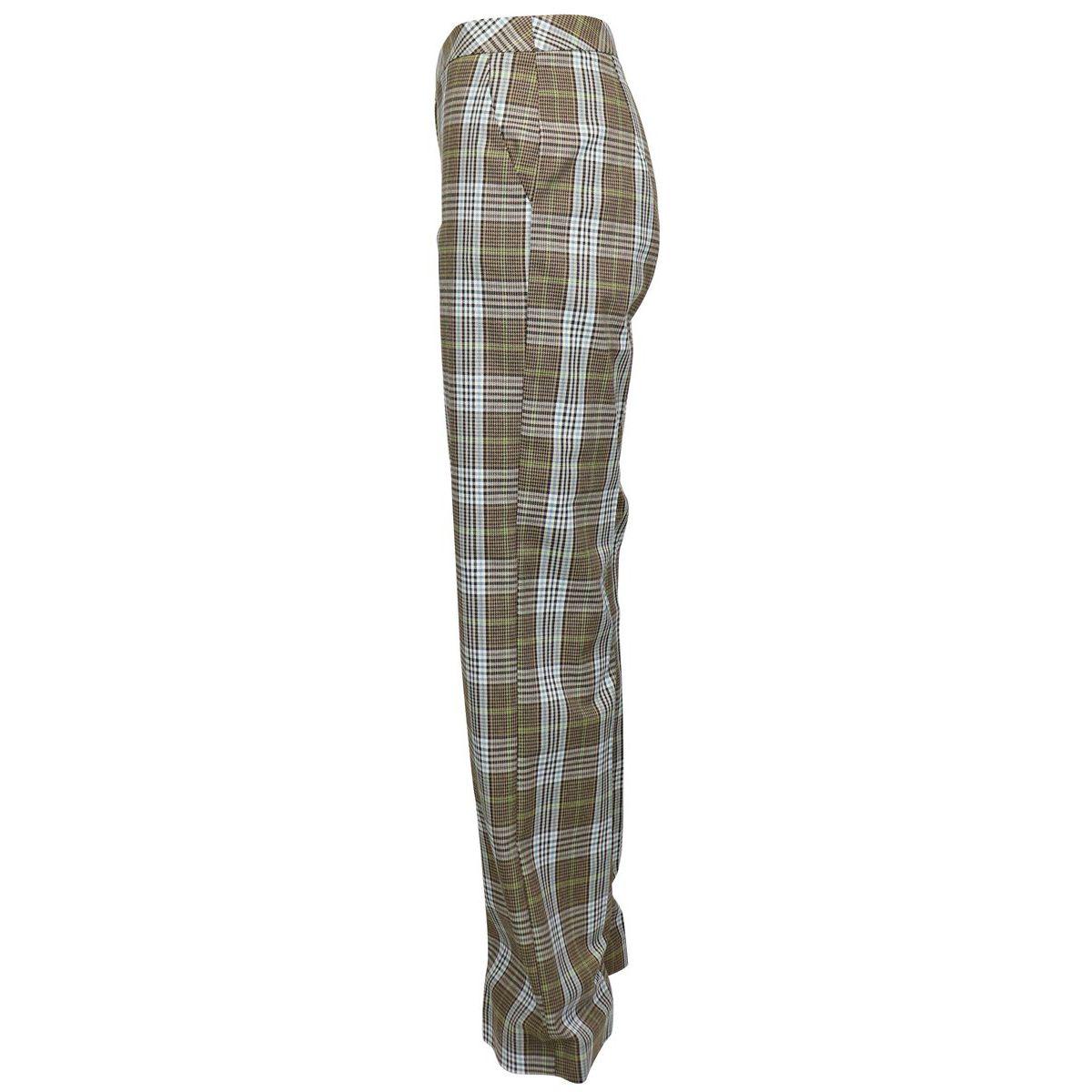 Pantalon taille haute en viscose mélangée à carreaux Chèque beige Patrizia Pepe