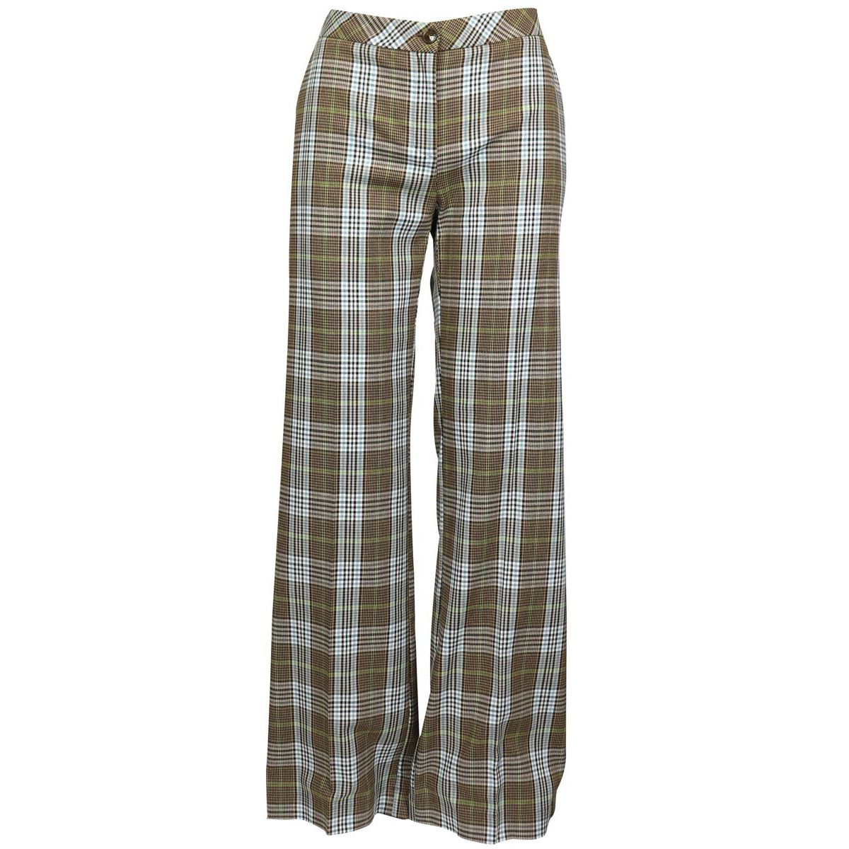 High-waisted viscose blend trousers with check pattern Beige check Patrizia Pepe