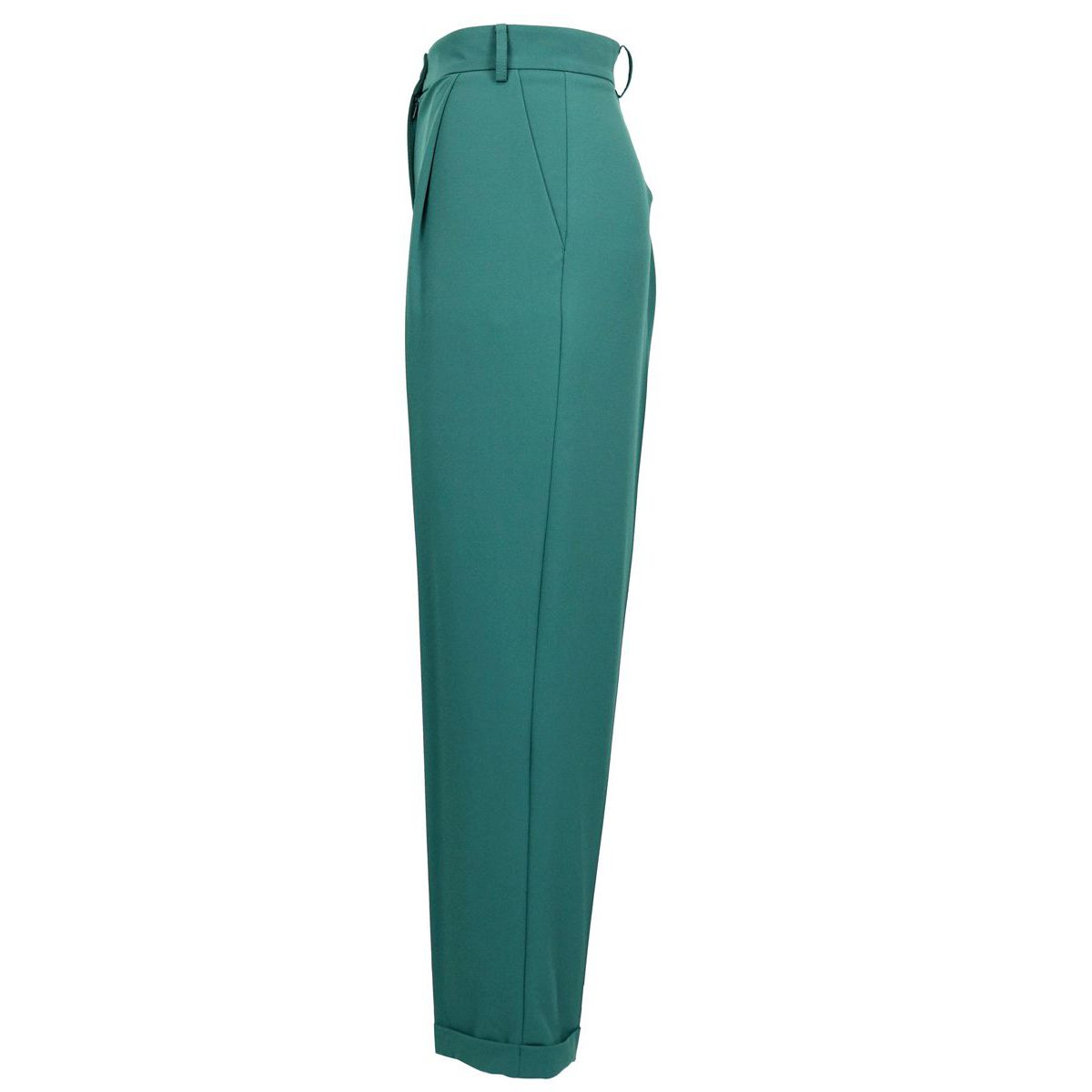 Crepe trousers and turn-ups on the bottom Green Patrizia Pepe