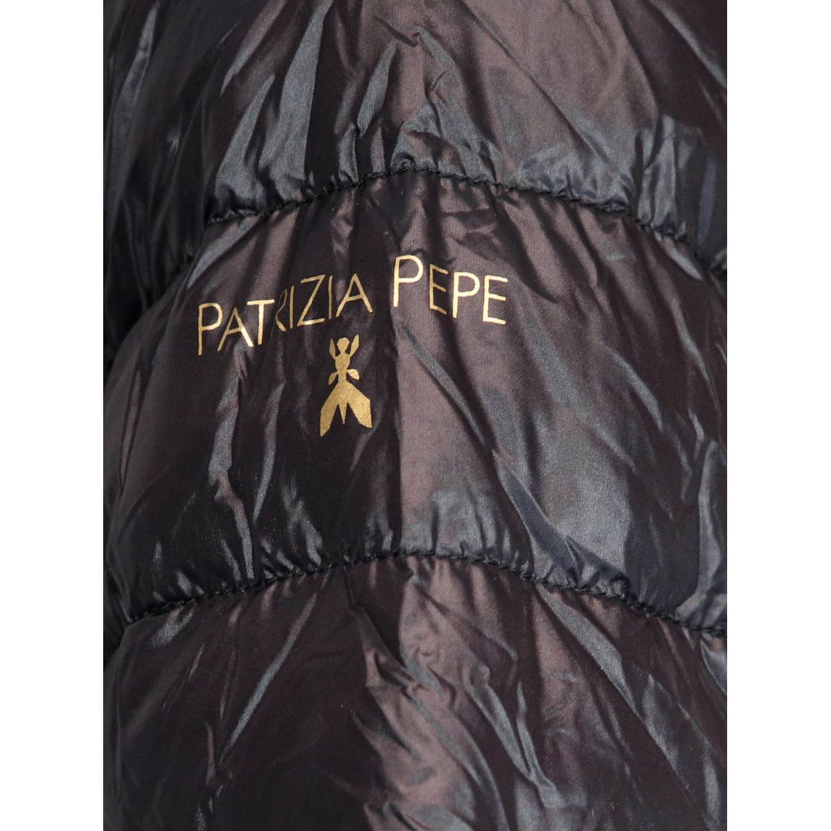 Ultra light down jacket with logo piping Black Patrizia Pepe