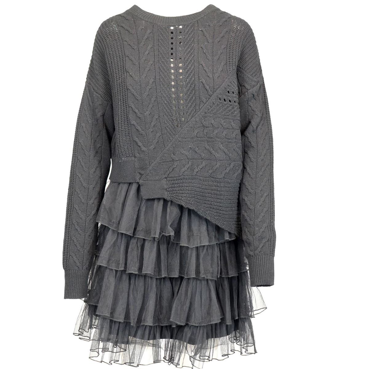 Cable knit dress with tulle skirt Black Patrizia Pepe