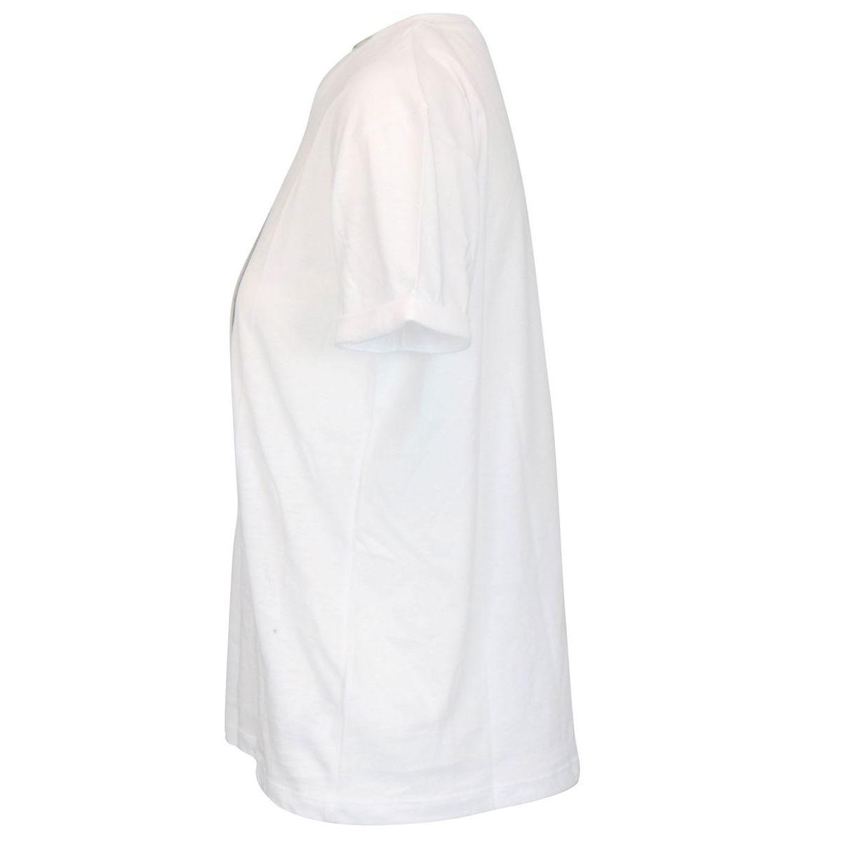 Asymmetric T-shirt in cotton with logo print White Patrizia Pepe