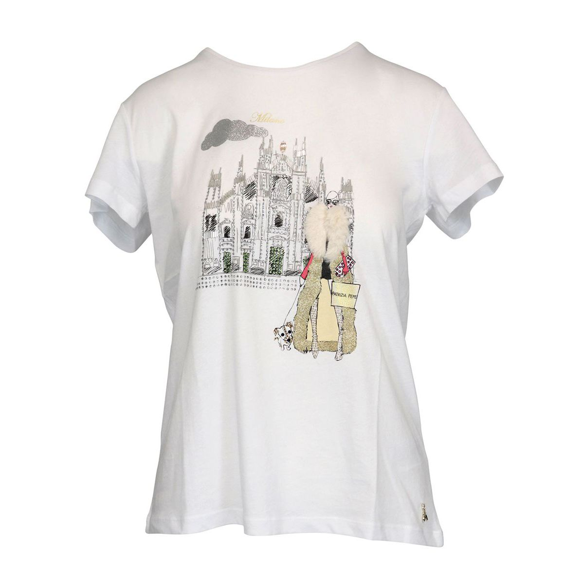 Cotton T-shirt with city print and insert White Patrizia Pepe