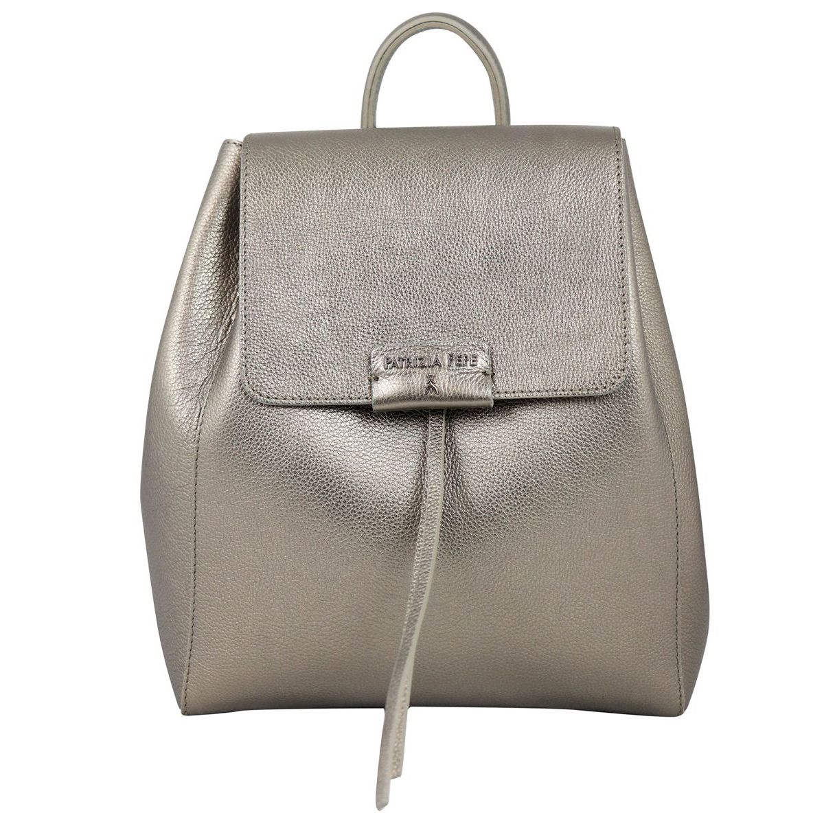 Leather backpack with magnet closure Bronze Patrizia Pepe