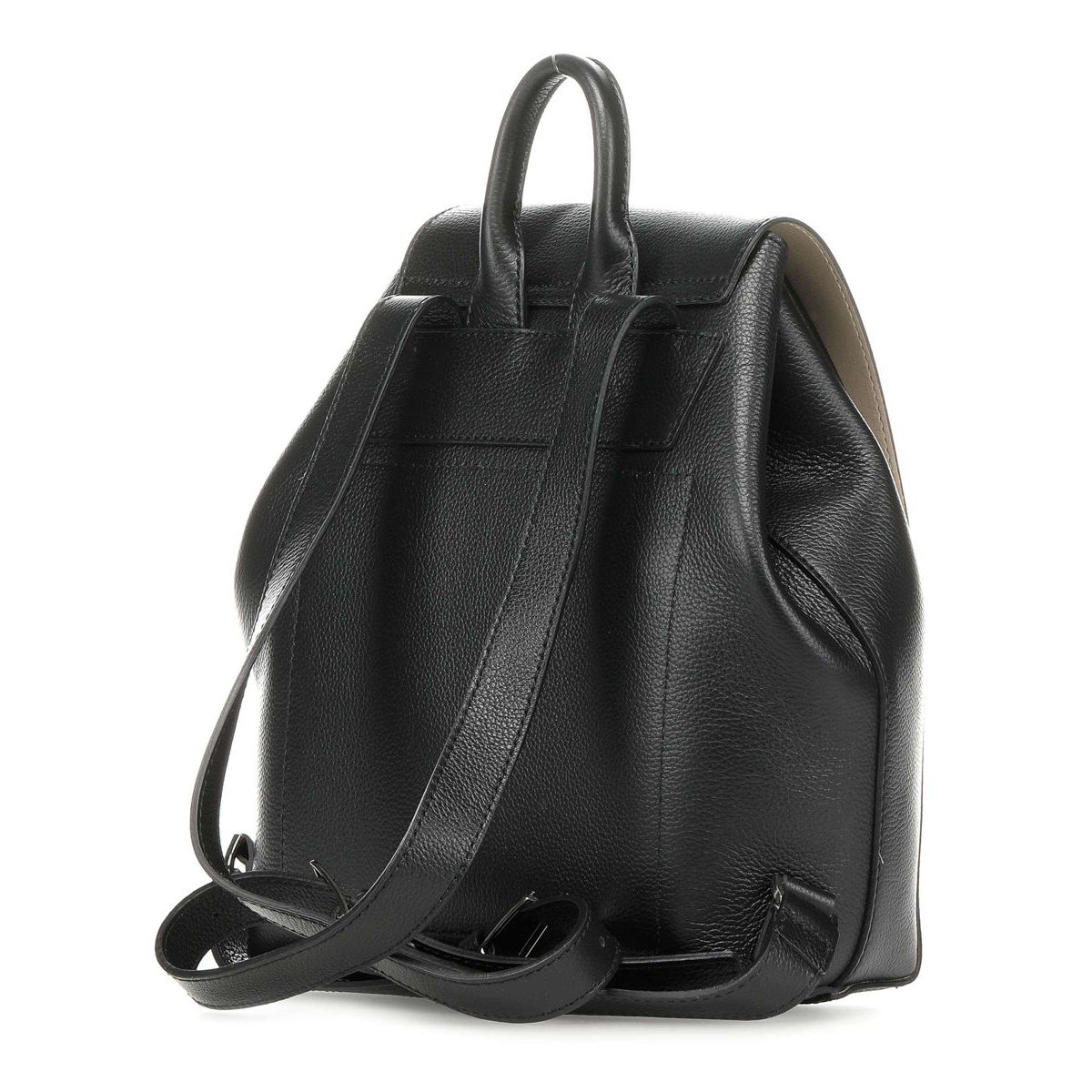 Leather backpack with magnet closure Black Patrizia Pepe