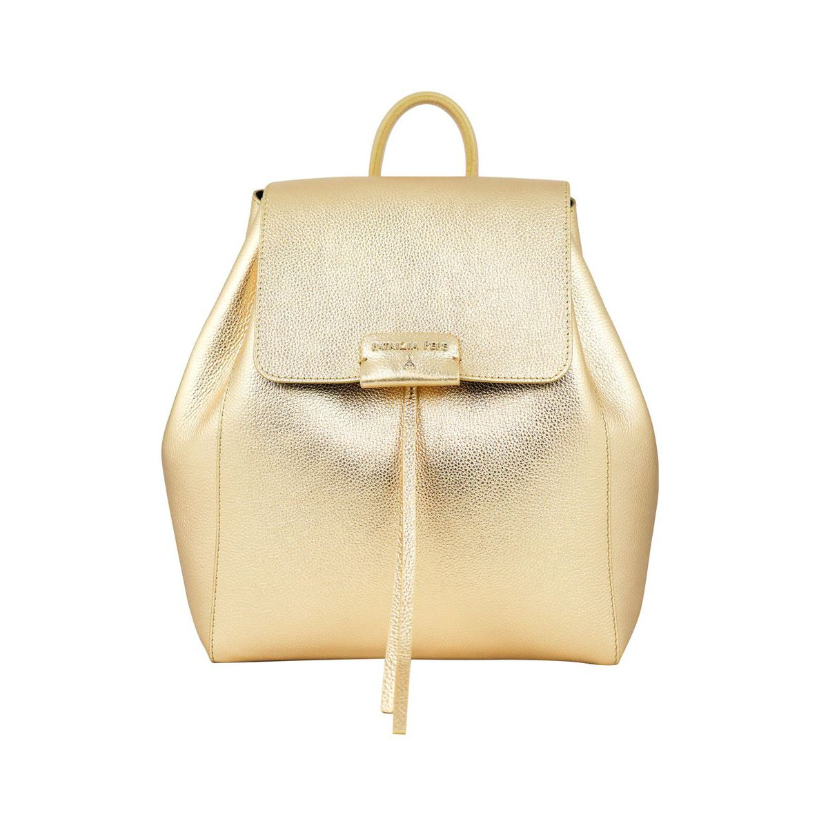 Leather backpack with magnet closure Gold Patrizia Pepe