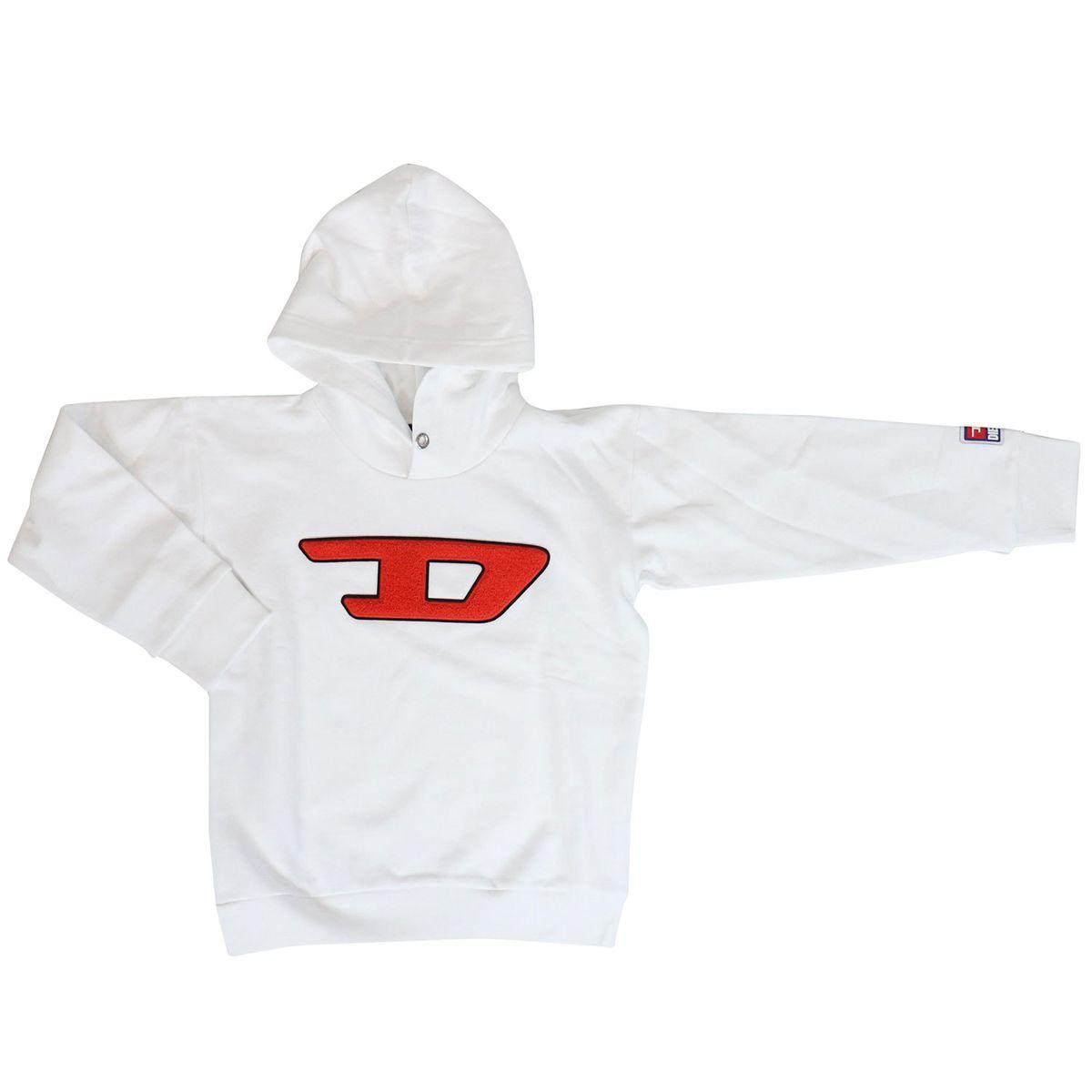 Sweatshirt with large logo hood White Diesel