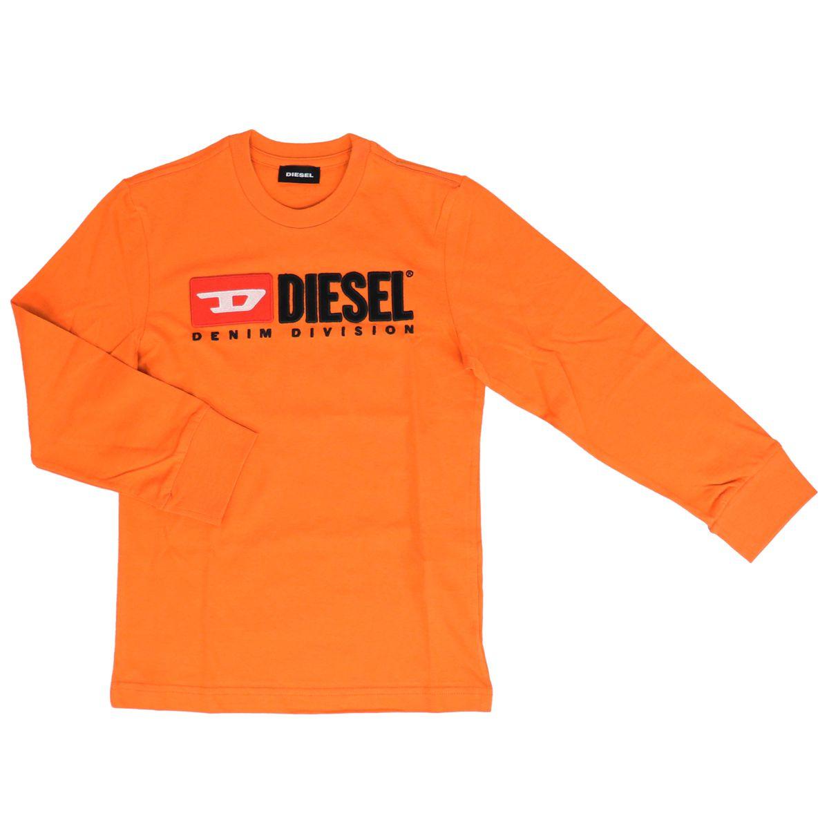 Long sleeve t-shirt with contrast logo Orange Diesel