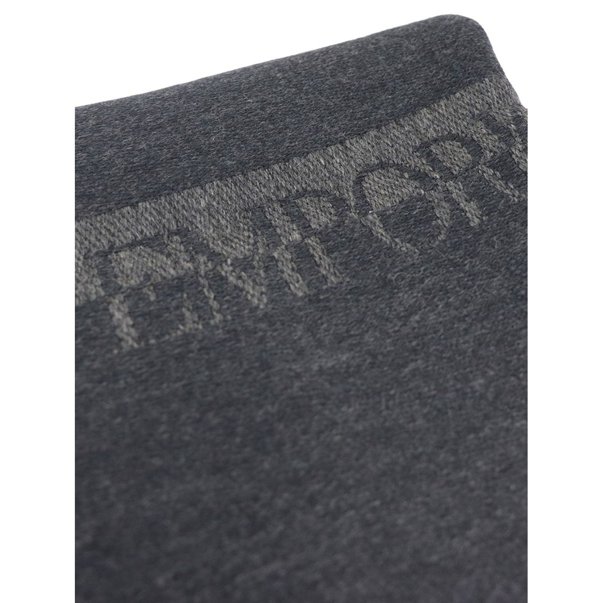 Wool scarf with contrasting logo Anthracite Emporio Armani