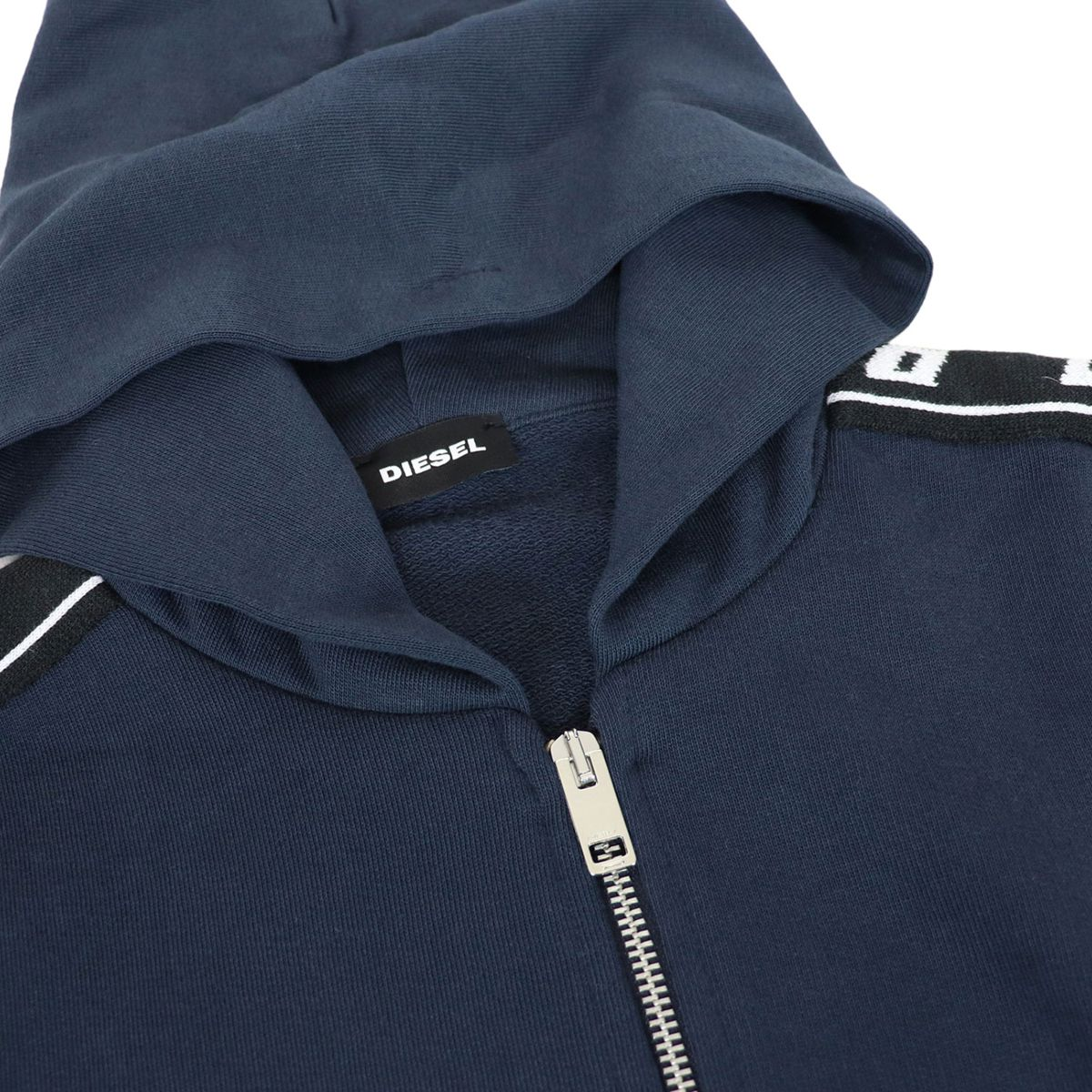 Cotton sweatshirt with hood and branded stripes Blue Diesel