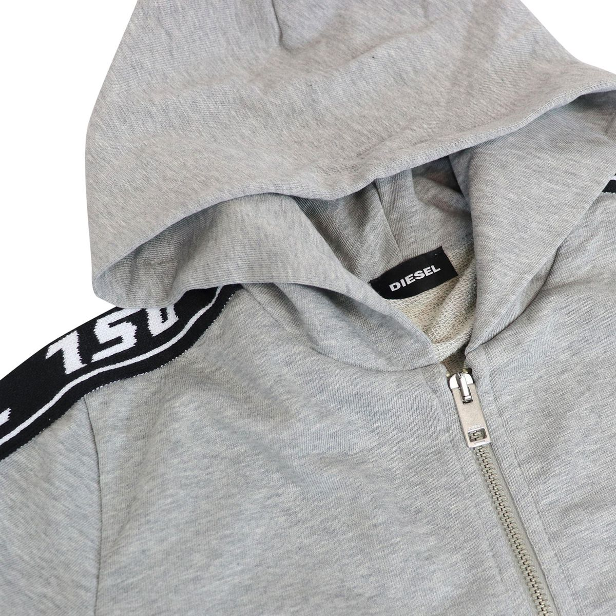 Cotton sweatshirt with hood and branded stripes Grey Diesel