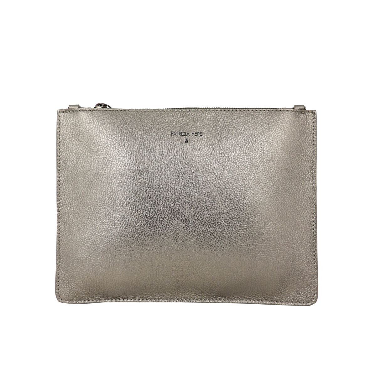 Flat shoulder bag in textured leather Bronze Patrizia Pepe