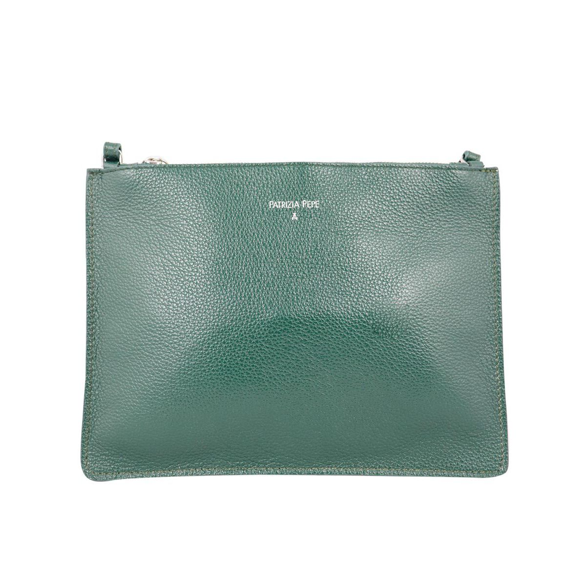 Flat shoulder bag in textured leather Green Patrizia Pepe
